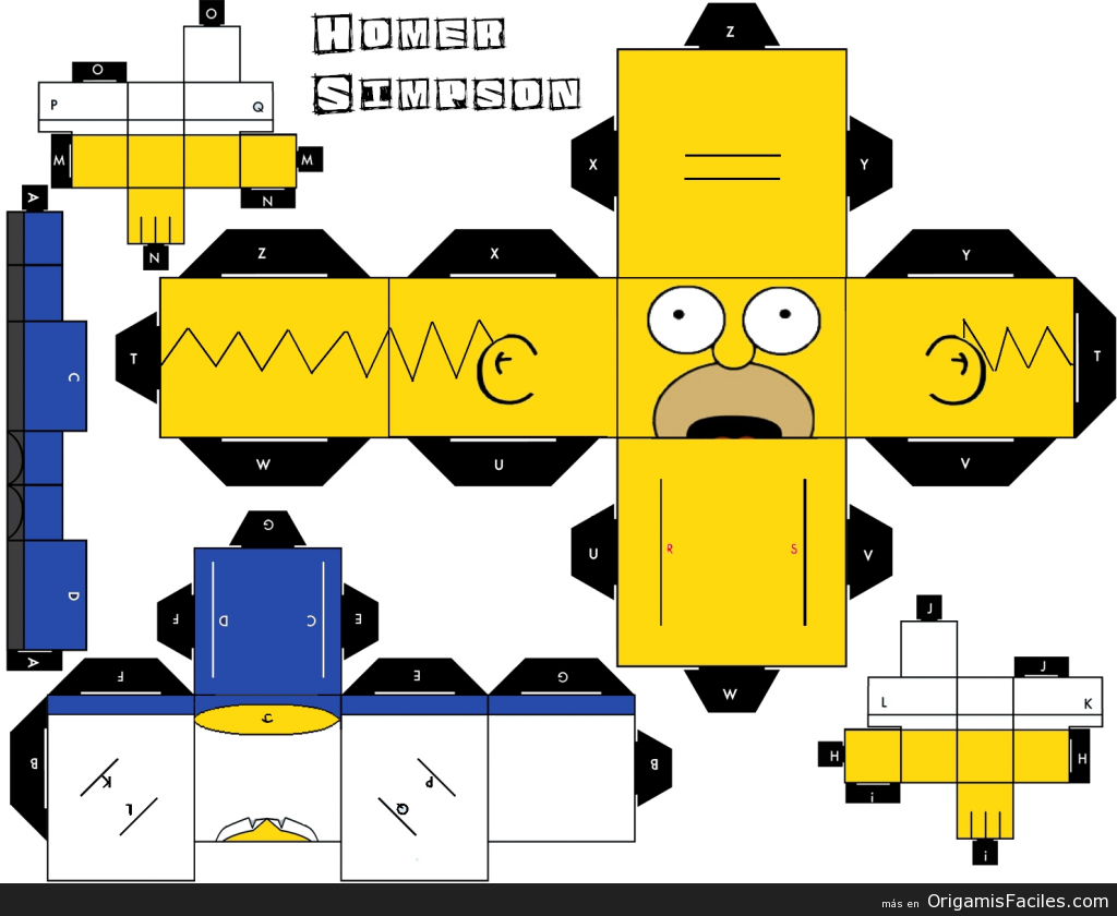 homer simpson origami y papercraft