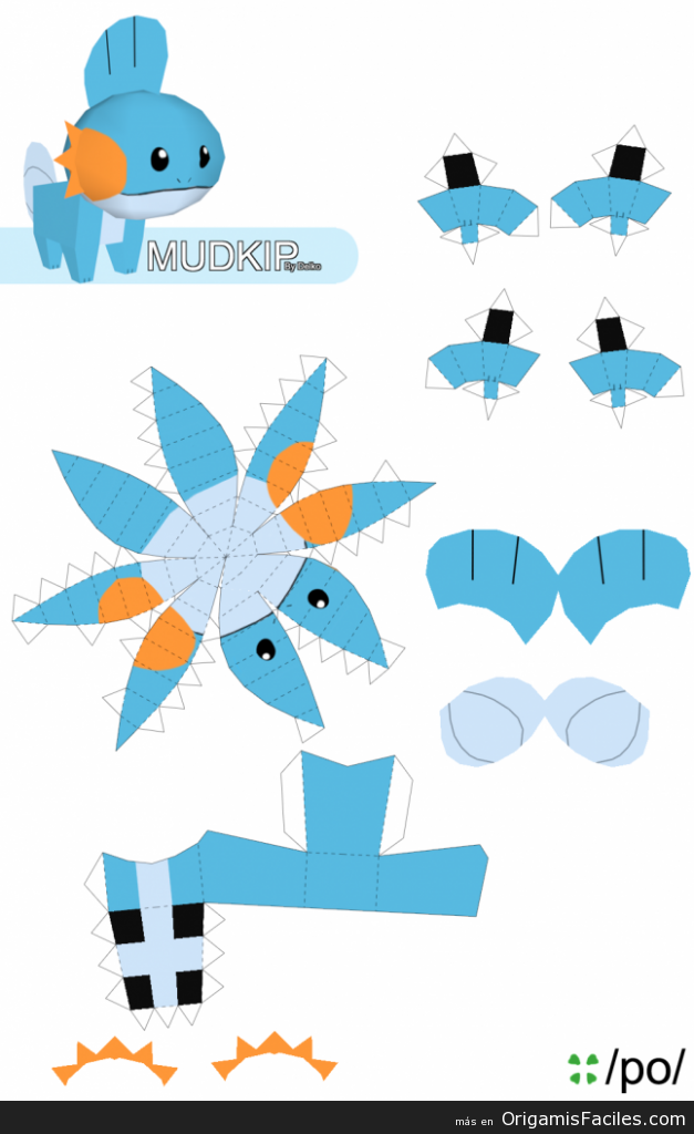 mudkip papercraft pokemon